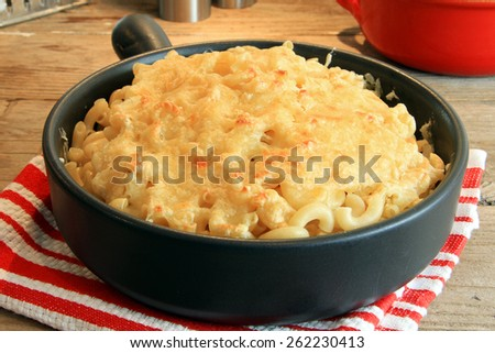 Home made macaroni and cheese.  - stock photo