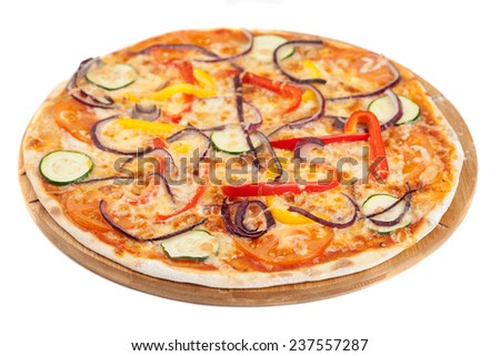 Home made pizza  on white - stock photo