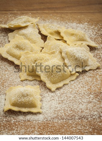 Home made ravioli pasta - stock photo
