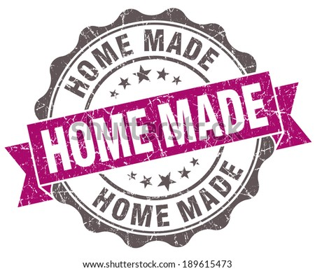 Home made violet grunge retro vintage isolated seal - stock photo