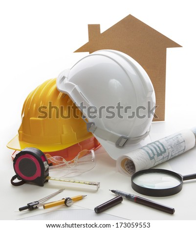 home model ,architect and engineering writing tool and stationary equipment use for construction businees theme  - stock photo