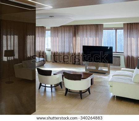 Home modern luxury theater interior with big windows  - stock photo