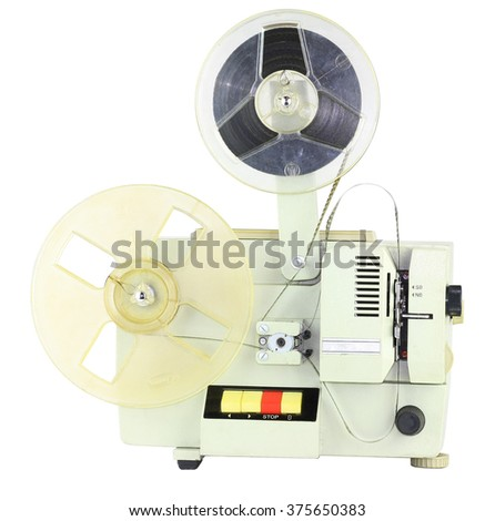 home movie projector isolated on white background - stock photo