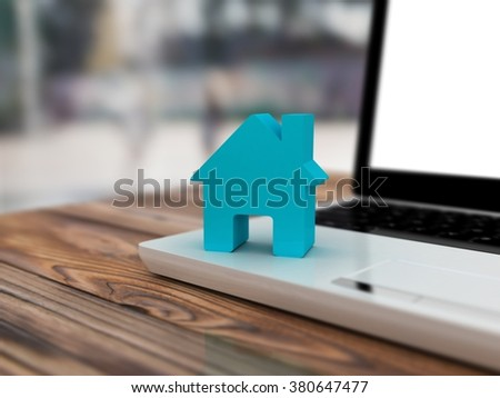 Home on computer keyboard background. Blur background - stock photo