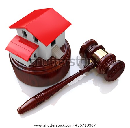 Home on white background and court gavel (done in 3d) in the design of information related to the auction. 3d illustration - stock photo