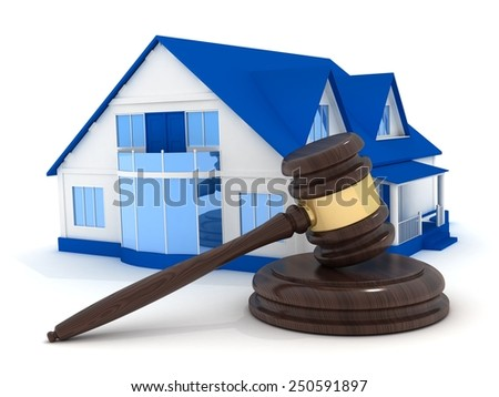 Home on white background and gavel (done in 3d) - stock photo