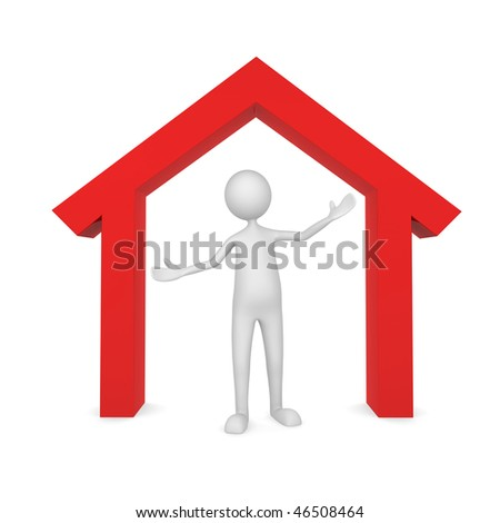 Home Owner.  Concept depicting a man inside home; great for home owner, landlord and real estate - stock photo
