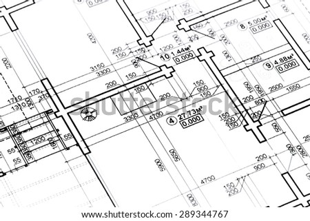 home plans and drawings, architectural blueprints, construction plan - stock photo