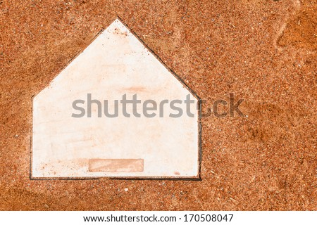 Home plate on a baseball field with room for copy - stock photo