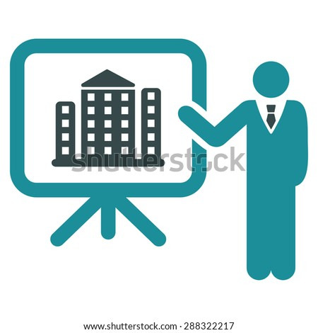 Home project icon from Business Bicolor Set. Glyph style: flat bicolor symbols, soft blue colors, rounded angles, white background. - stock photo