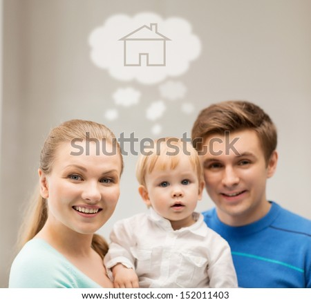 home, real estate and family concept - family with child dreaming about house - stock photo