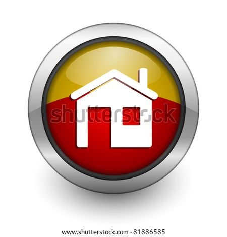 home red and yellow aqua button - stock photo