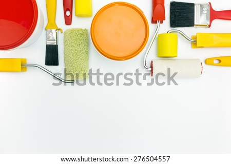 home renovations. painting tools and accessories on white background. - stock photo