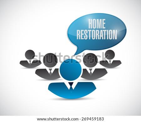 home restoration teamwork sign illustration design over white - stock photo