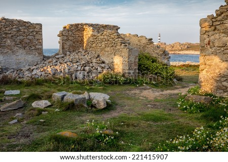 Home ruins in Ushand island coastline at the Pern point, Brittany, France - stock photo