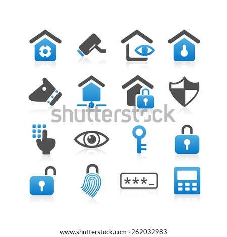 Home security concept icon set - Simplicity Series - stock photo