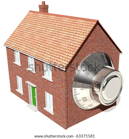 Home security house with safe dial - stock photo