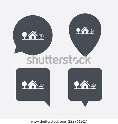Home sign icon. House for sale. Broker symbol. Map pointers information buttons. Speech bubbles with icons. - stock photo