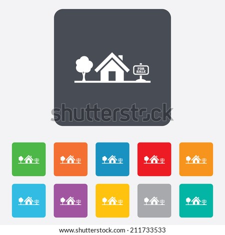Home sign icon. House for sale. Broker symbol. Rounded squares 11 buttons. - stock photo