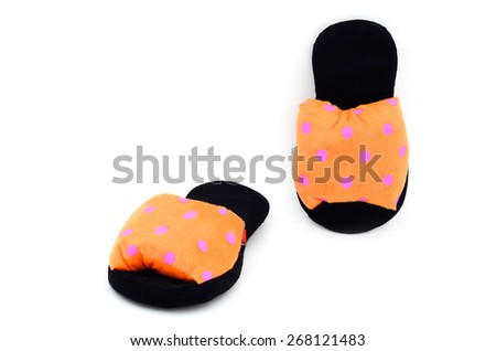 Home slippers isolate on white background - stock photo