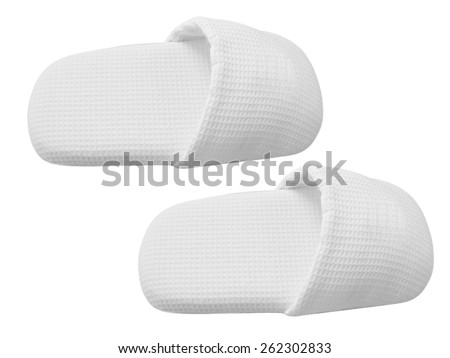 home slippers isolated on white - stock photo