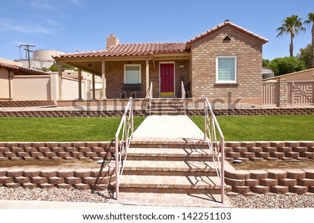 Home sweet home a manicured house in Boulder city Nevada. - stock photo