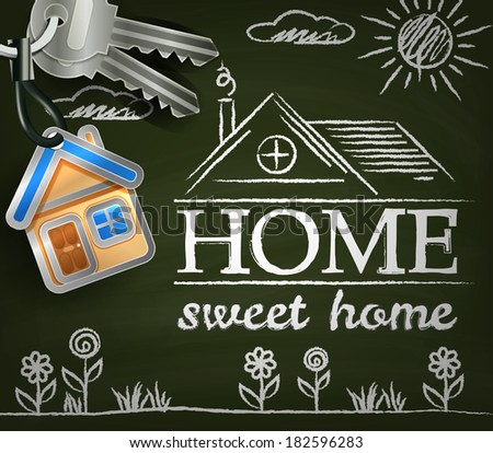 Home sweet home. Poster with house. keys. flowers and sun - stock photo