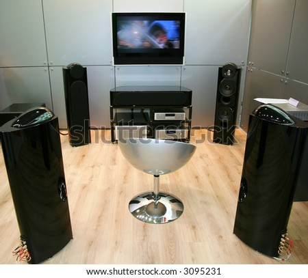 home theater 4 focus on chair - stock photo