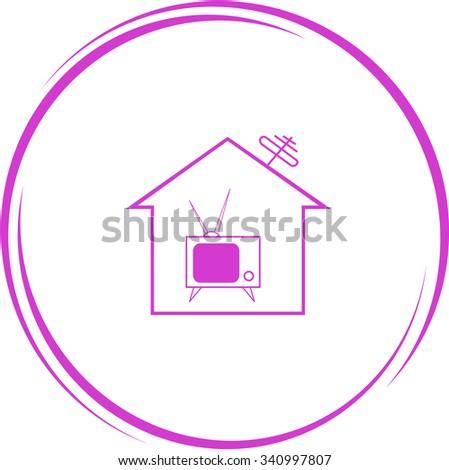 home tv. Internet button. Raster icon. - stock photo