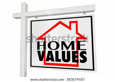 Home Values House for Sale Real Estate Sign Trends Asset Valuation Comps - stock photo