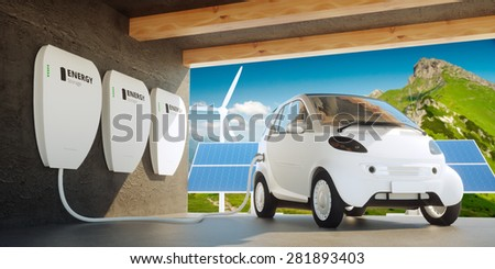 Home wall battery concept - stock photo