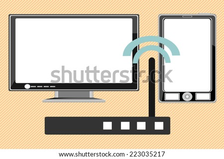 Home wifi network. Internet via router on pc, phone - stock photo