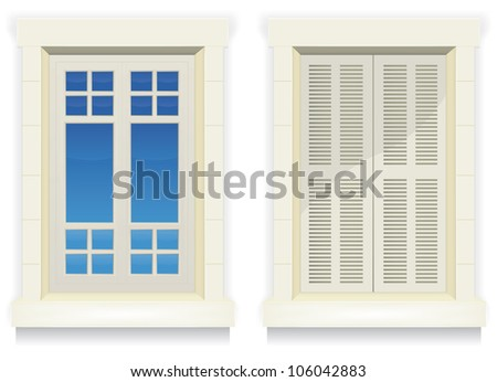Home Window - Awake And Asleep/ Illustration of separated exterior home windows with and without closed  flap - stock photo