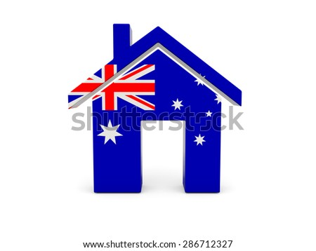 Home with flag of australia isolated on white - stock photo