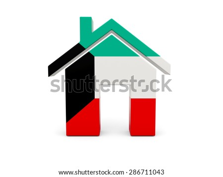Home with flag of kuwait isolated on white - stock photo