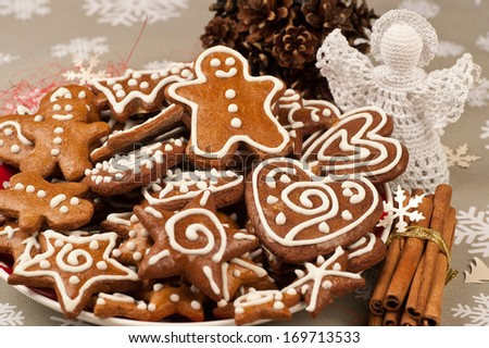 Homebaked Christmas Gingerbread Cookies on a plate - stock photo