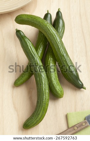 Homegrown fresh organic cucumbers - stock photo