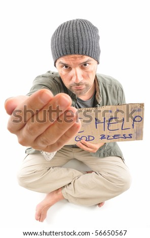 Homeless begging focused on face - a series of HOMELESS images. - stock photo