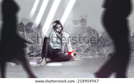 Homeless guy. Homeless guy in suit sitting on a ground with origami bird illustration. - stock photo