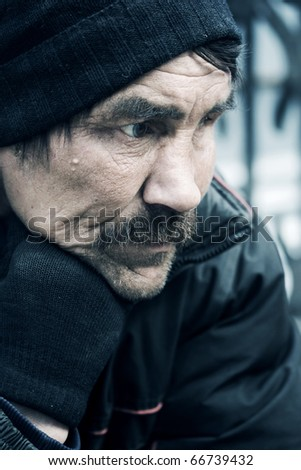 Homeless man. - stock photo