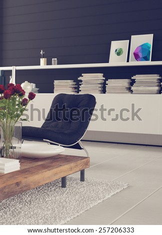 Homely 3d living room interior decor with a comfortable chair for relaxation, flowers and a cabinet with books and pictures against a black wall over a white floor and rug. 3d Rendering. - stock photo