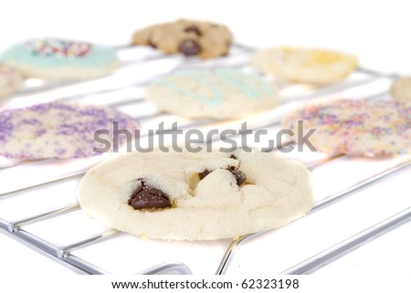 homemade allergen free cookies on cooling rack - stock photo