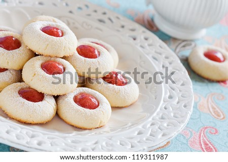 Homemade almond cookies filled with jam, selective focus - stock photo
