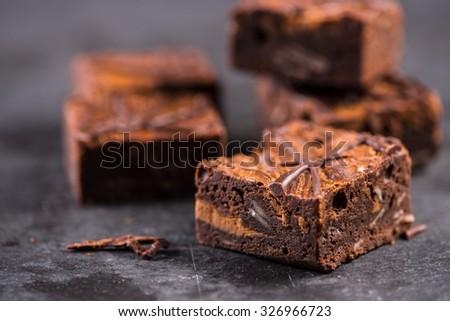 Homemade artisan chocolate brownies - stock photo