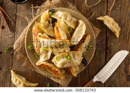 Homemade Asian Pork Potstickers with Soy Sauce - stock photo