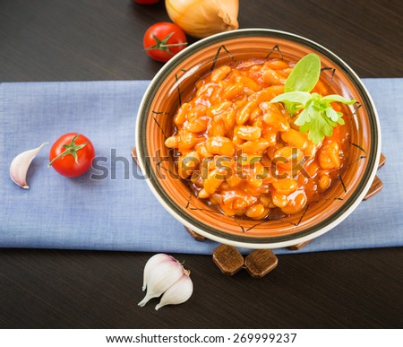 Homemade Baked Beans with tomato sauce - stock photo