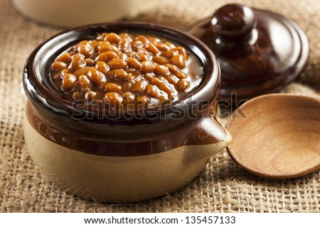 Homemade Barbecue Baked Beans with pork in a bowl - stock photo