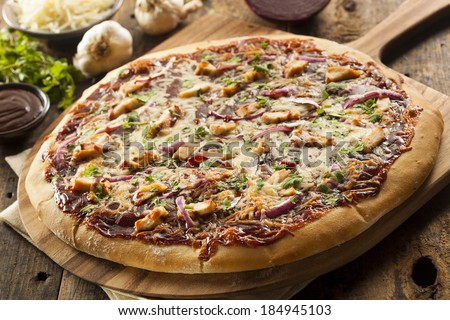 Homemade Barbecue Chicken Pizza with Onions and Cilantro - stock photo