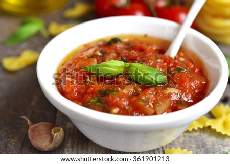 Homemade basic sauce for pasta with ingredient. - stock photo