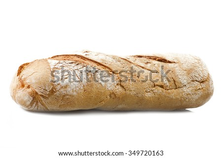 Homemade bread sliced close up on white - stock photo
